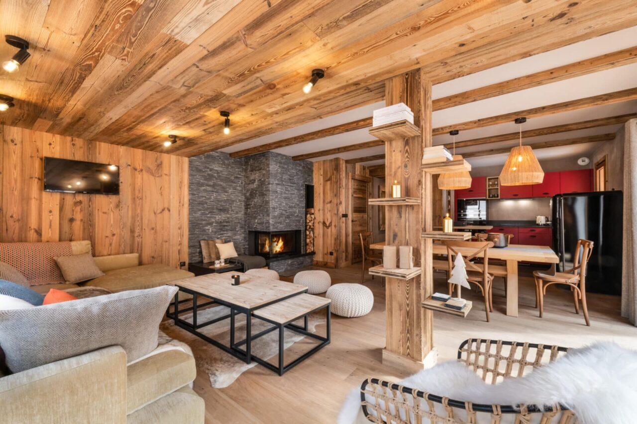 chalet - salon ambiance chalet de montagne - style cosy